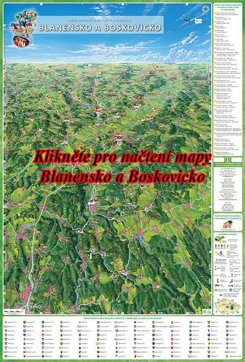 Interaktivní malovaná mapa Blanensko a Boskovicko