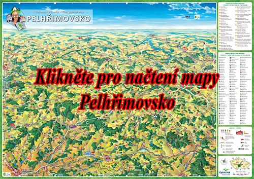 Interaktivní malovaná mapa Pelhřimovsko
