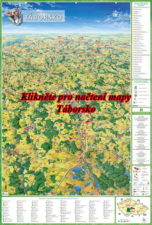Interaktivní malovaná mapa Táborsko