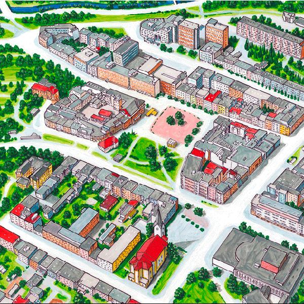 Malované mapy obcí a měst