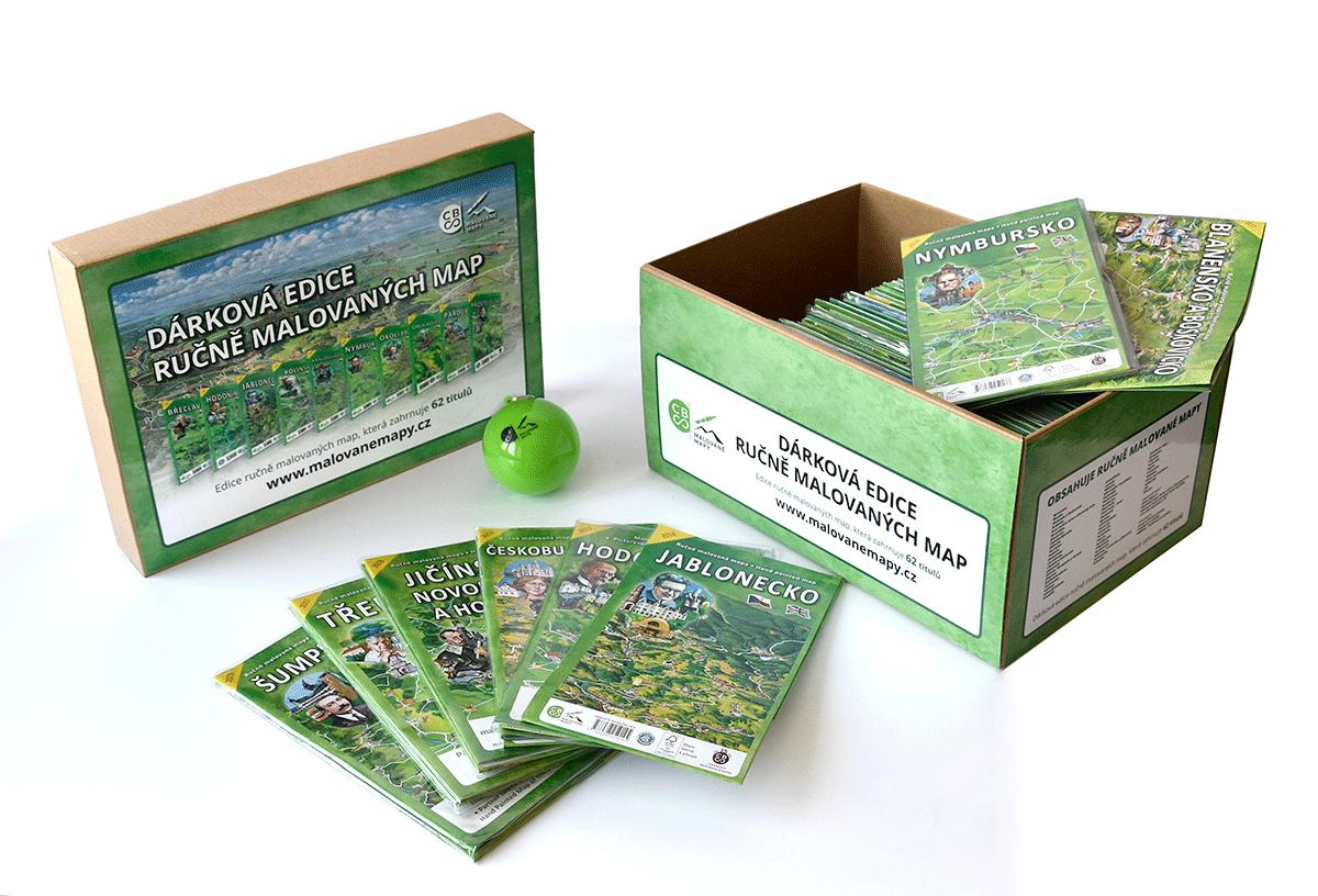 Dárková krabice malovaných map