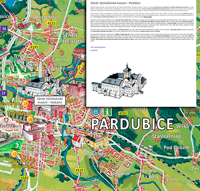 Interaktivní malovaná mapa Pardubicka
