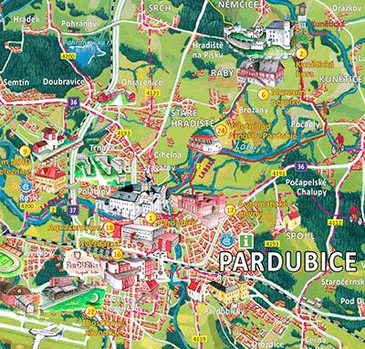 Malovaná mapa Pardubicko