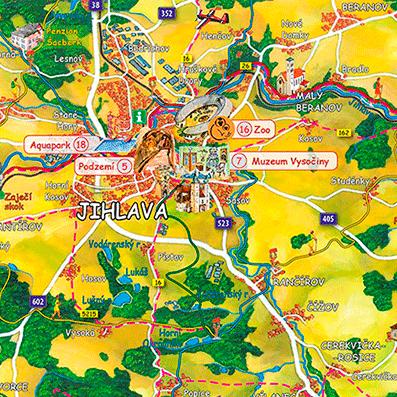 Malované mapy Telče a Jihlavska