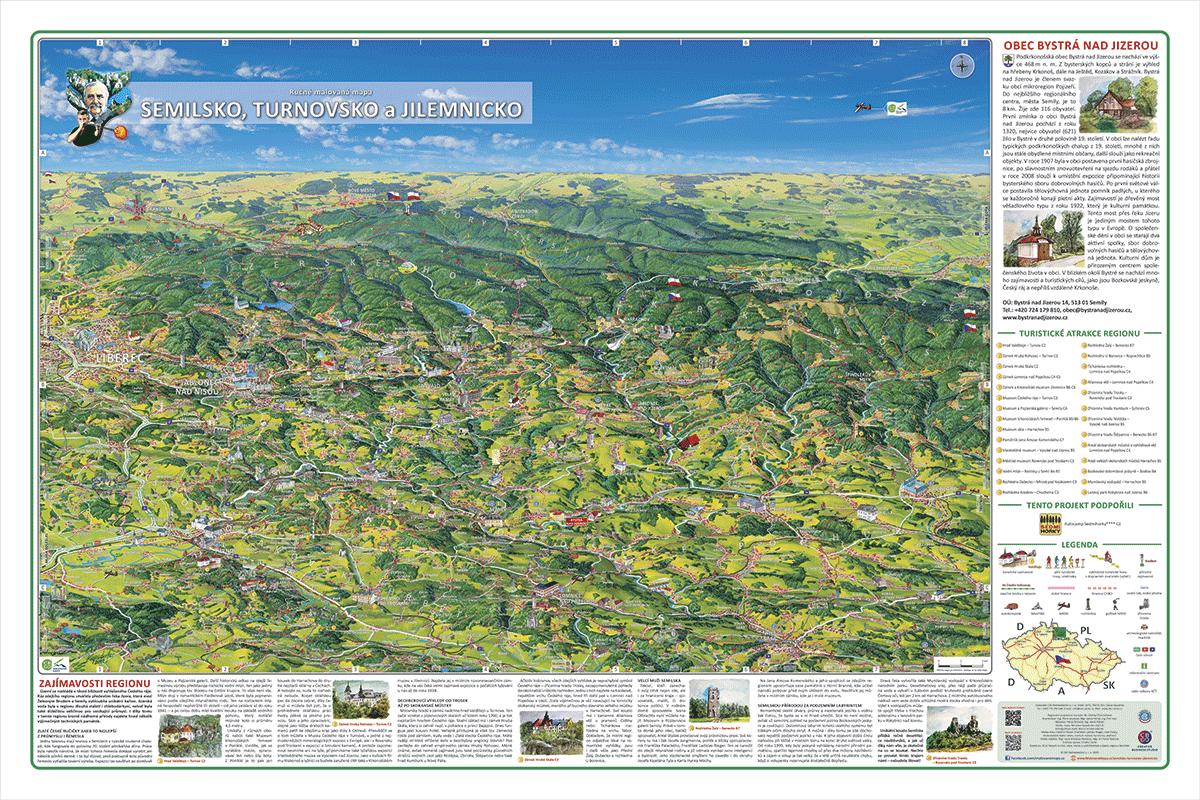 Tabule s malovanou mapou - Bystrá nad Jizerou