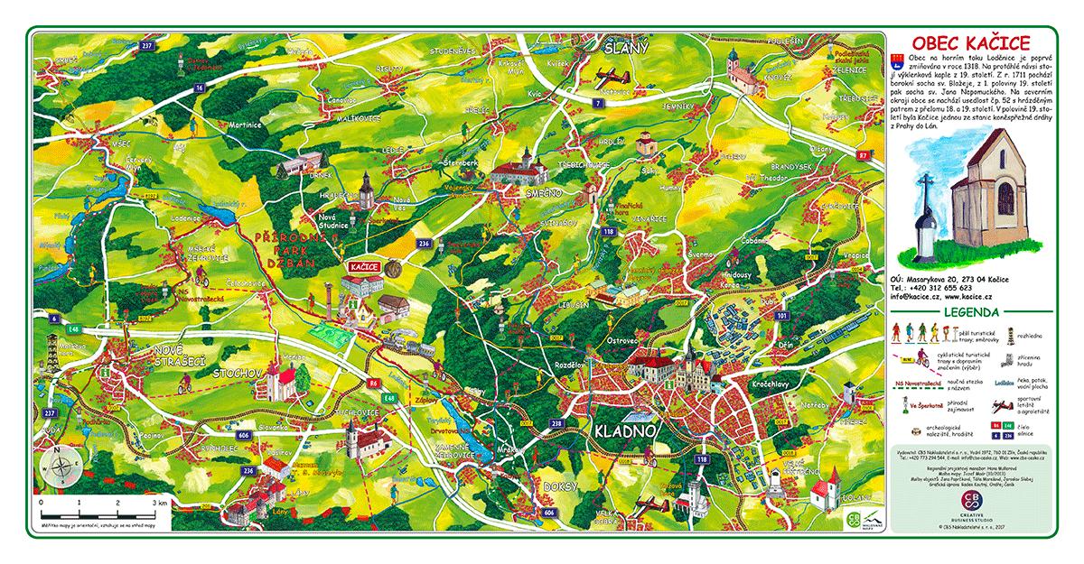 Ručně malovaná mapa Kladensko - Kačice