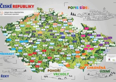 Magnetická ručně malovaná mapa ČR