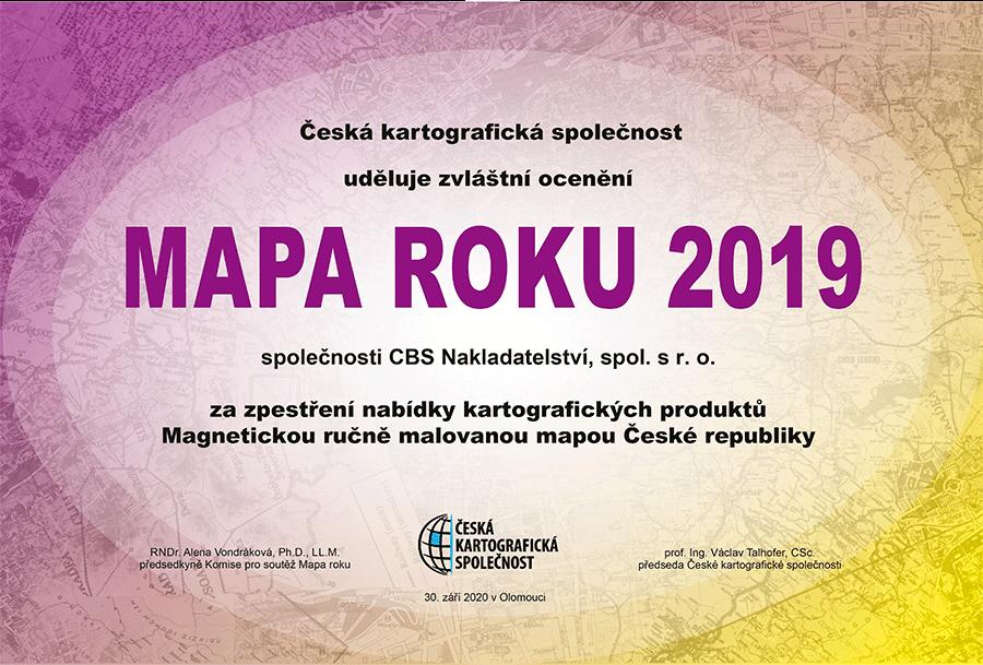 Ocenění pro Ručně malovanou magnetickou mapu ČR