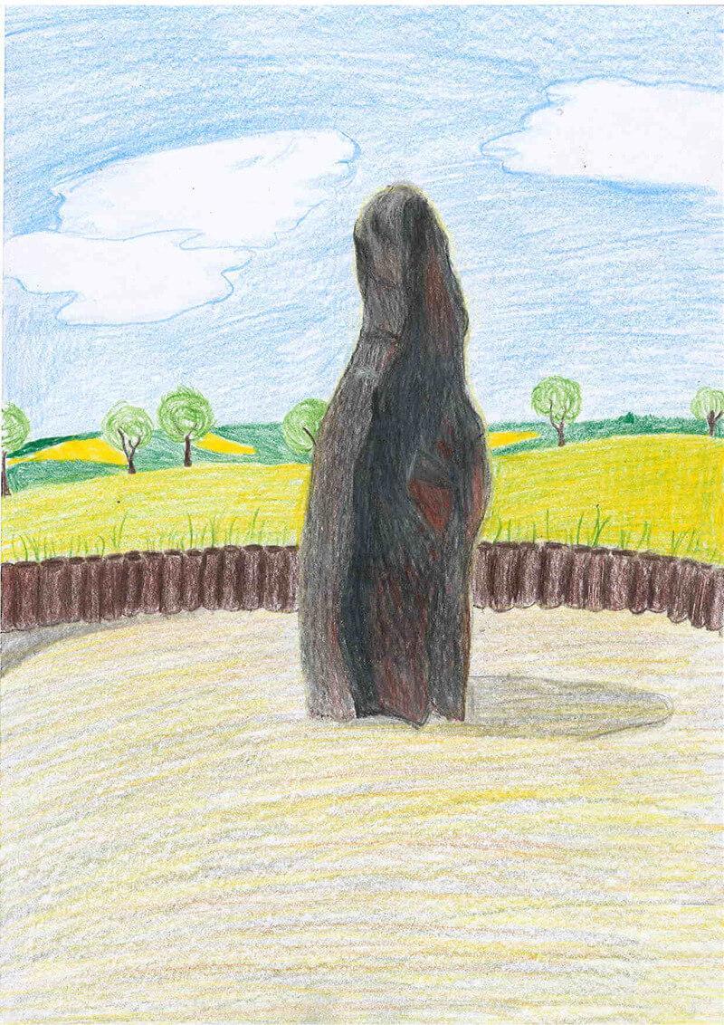 Kamenný pastýř - Klobouky, malba z cyklomapy Kladensko, Barbora, 13 let
