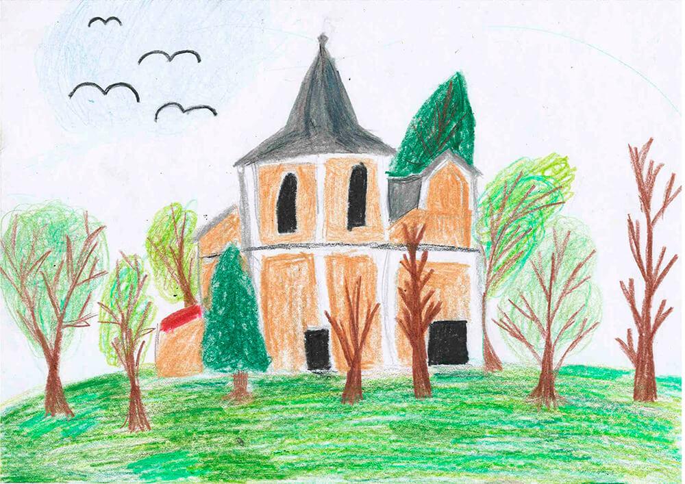 Kostel Klobouky, malba z cyklomapy Kladensko, Anna, 11 let