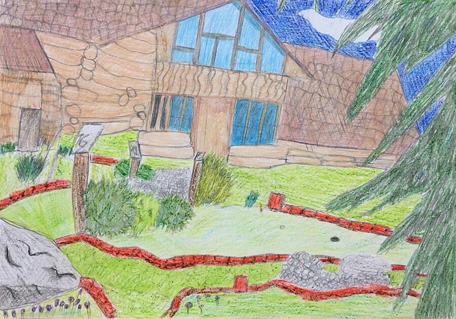 Adventure Golf Horní, malba z cyklomapy Kladensko, Jolanka, 8 let