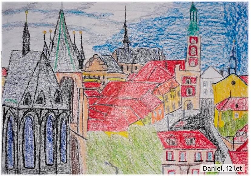 Slaný - malba z cyklomapy Kladensko, Daniel, 12 let