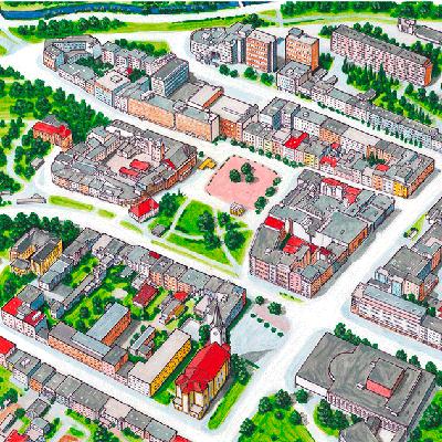 Malované mapy měst