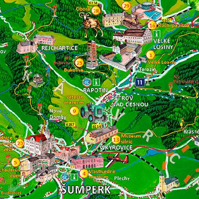 Malované mapy regionů