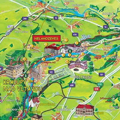 Personalizovaná malovaná mapa Nelahozeves