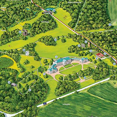Malovaná mapa areálu zámku Kačina