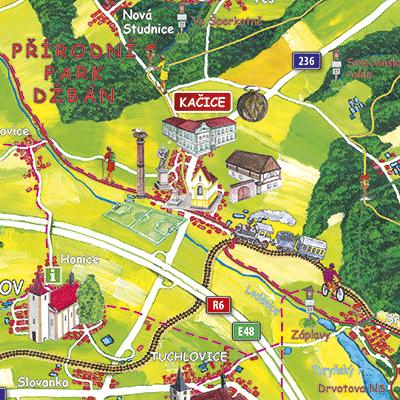 Malovaná mapa obce Kačice a okolí