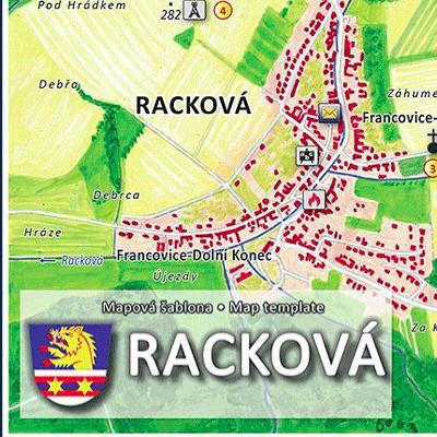 Malovaná mapa Zlín - Racková