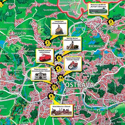 Malovaná mapa Moravskoslezského kraje - Technotrasa