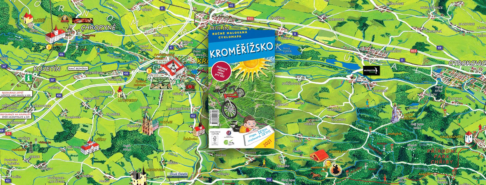 Další malovaná cyklomapa dětem bude z Kroměřížska
